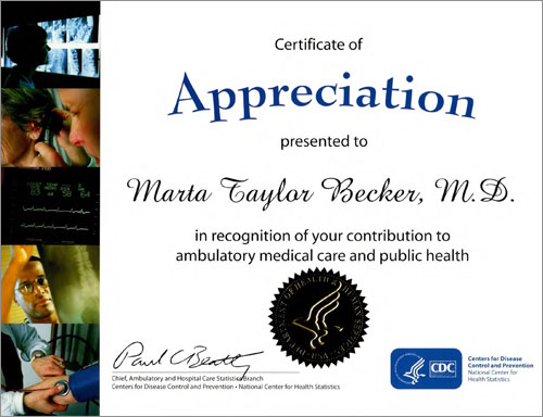 Certificate of Appreciation - In Honor of Dr. Becker's Contribution to Ambulatory Medical Care and Public Health