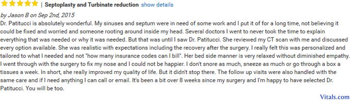 Reviews Septoplasty Patitucci