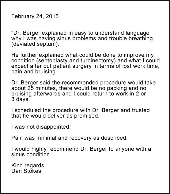 Chronic sinus surgery review of Berger Henry ENT - Dan Stokes