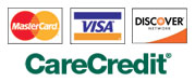 We accept Visa, MasterCard, Check, Cash, and now CareCredit.