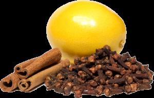 Lemon, clove, and cinnamon