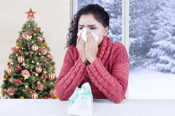 Woman with Christmas Tree Allergies